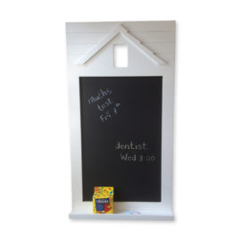 Happy Home Chalkboard with Shelf, White for Kids Noticeboard Planner To do List Children