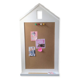 Happy Home Corkboard with Shelf, White for Kids Noticeboard Planner To do List