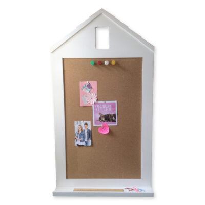 Happy Home Corkboard with Shelf - White