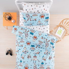 Robodogs Duvet Set for Kids Bedding Kidsroom Children Pure Cotton Bedroom Single Robots Dogs