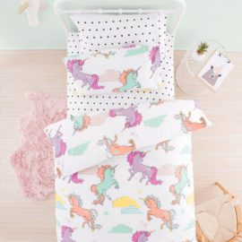 Unicorn Dreams Single Duvet Cover Set for Kids Bedding Bedroom Children Pure Cotton