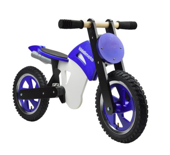 kiddimoto scrambler balance bike blue ride ons kids children boys wooden