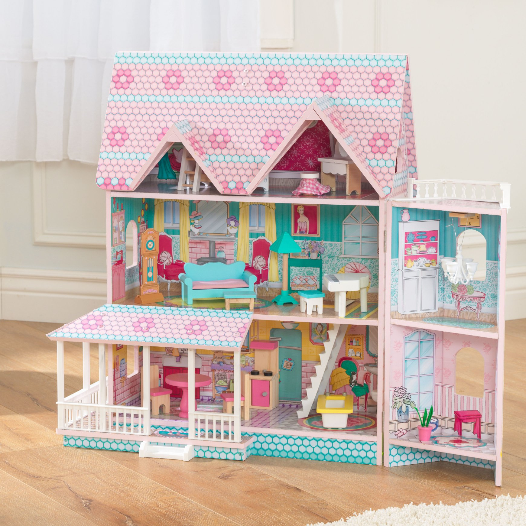 Abbey Manor Dolls House For Kids Children Girls Pretend Play Toys Wooden