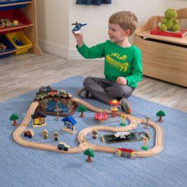 Bucket Top Mountain Train Set 61 pieces Kids Children Boys Wooden Toys Classic Pretend Play