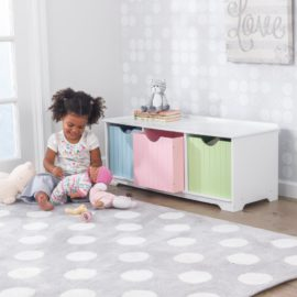 Nantucket Storage Bench Activity Pastel Bins for Kids Playroom Kidsroom Children Toys Tongue and Groove Detail