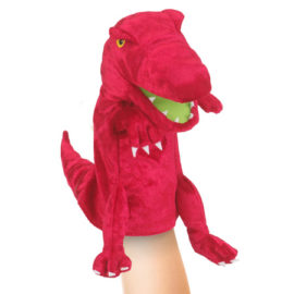 Red Dinosaur Moving Mouth Hand Puppet for Kids Pretend Play Show Theatre Fiesta Crafts
