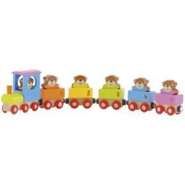 Teddies Pull Along Train for Kids Children Early Years Toys Wooden Classic