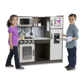 Chefs Kitchen Charcoal Play Kitchen Kids Children Pretend Play Melissa & Doug Wooden with Ice Dispenser