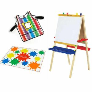 BUNDLE DEAL: Deluxe Wooden Art Easel + Smock + Drop Cloth (SAVE R200.00)