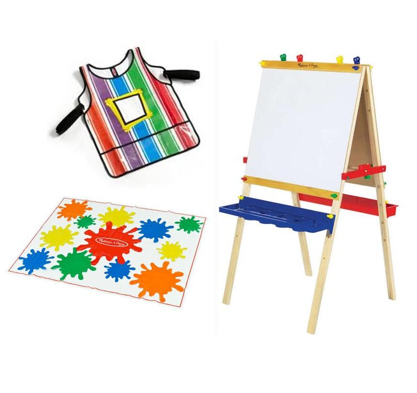 Bundle deal deluxe wooden art easel smock drop cloth save for Toys r us crafts