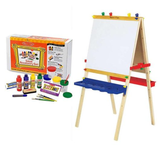 Bundle deal deluxe wooden art easel accessory set save for Arts and crafts sets for kids
