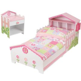 Dolls House Toddler Bed and Beside Table Nightstand Bedroom Kids Children