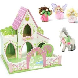 Fairy Castle with Unicorn and Set of Truth Fairies for Kids Children Pretend Play Toys Wooden Le Toy Van