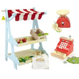 Honeybee Market Stall Cash Register Weighing Scales Wooden for Kids Children Pretend Play Toys
