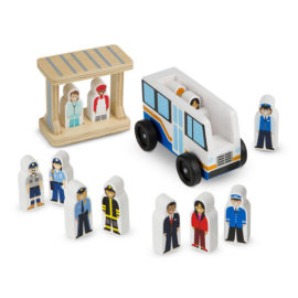 Off to Work Bus Set for Kids Children Wooden Toy Pretend Play Melissa & Doug