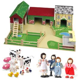 Oldfield Farm Yard with Family and Animals for Kids Children Pretend Play Toys Wooden Tidlo