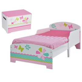 Patchwork Toddler Bed and Beside Table Nightstand Bedroom Kids Children