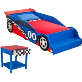 Racing Car Toddler Bed and Beside Table Nightstand Bedroom Kids Children
