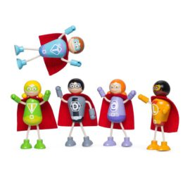 Superhero Figure Pack for Kids Children Wooden Toys Pretend Play Tidlo