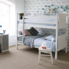 Superior Classic Solid Beech Bunk Bed Pure White for Kids Children Bedroom Shared Spaces Kidsroom