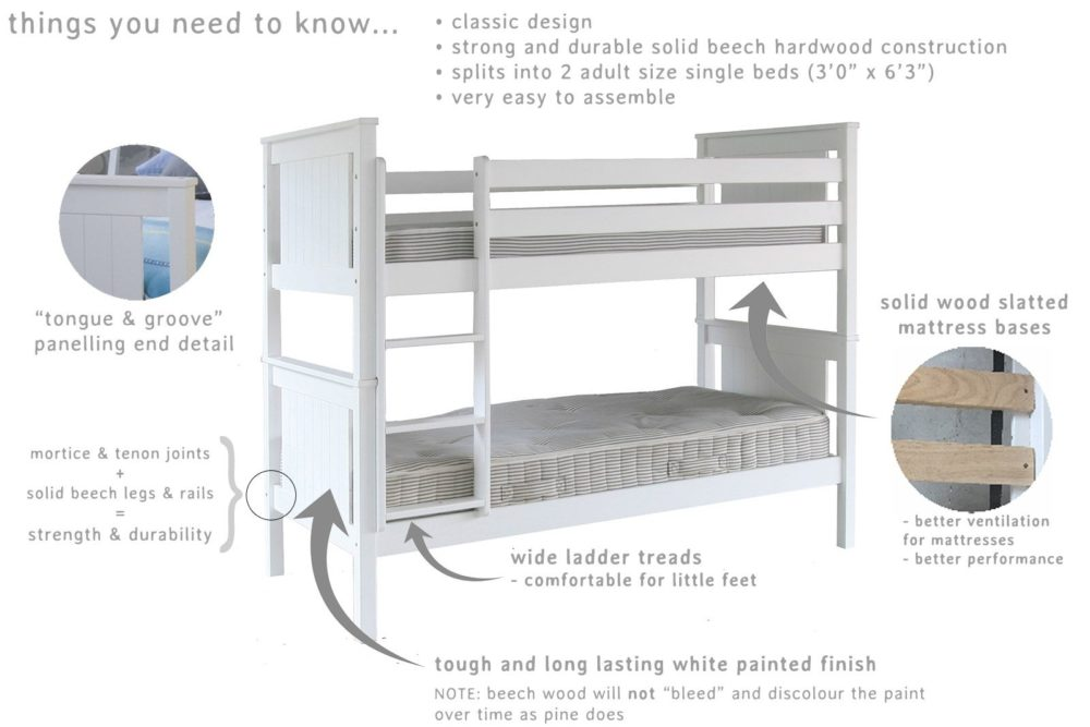 ... Superior Classic Solid Beech Bunk Bed Pure White For Kids Children  Bedroom Shared Spaces Kidsroom Single ...