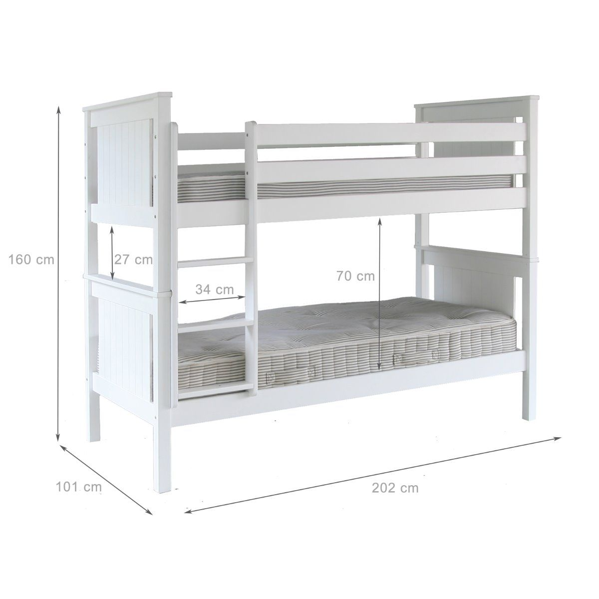 Superior Bunk White Solid Beech Hardwood Classic Design By Little Folks