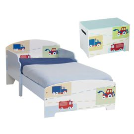 Vehicles Toddler Bed and Beside Table Nightstand Bedroom Kids Children