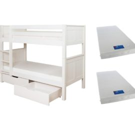 Classic Bunk Bed with 2 Underbed Storage Drawers Bed plus 2 Mattresses for Kids Children Solid Wood White