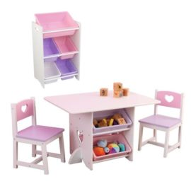 Heart Playtable and Chair Set with 5 Bin Storage Unit Bundle Kids Children Playroom Toys
