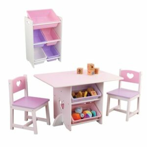 BUNDLE DEAL: Heart Play Table & 2 Chair Set + 5 Bin Storage Unit (SAVE R300.00)