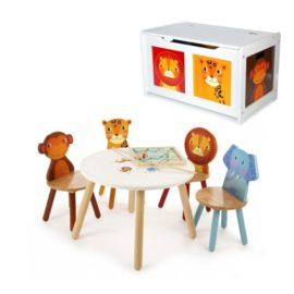 Jungle Playtable and Chair Set with Toy Chest for Kids Playroom Children Storage Animals White
