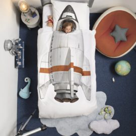 Rocket Duvet Set for Kids Photographic Print Cotton Boys Bedroom Bedding Children