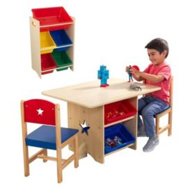 Star Playtable and Chair Set with 5 Bin Storage Unit Bundle Kids Children Playroom Toys