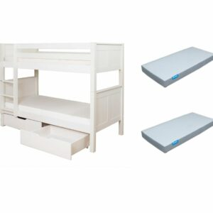 BUNDLE DEAL: Classic Bunk Bed with Underbed Drawers + 2 Mattresses (SAVE R500.00)