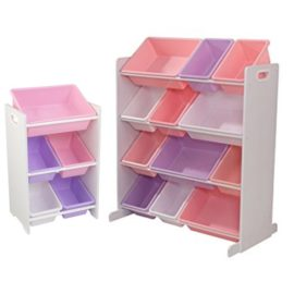 Toy Boxes Storage 12 and 5 Bins Pastel Bundle Saving for Kids Children Playroom White