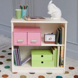Fargo Storage Bookcase Small for Kids Children Bookshelf Ivory White
