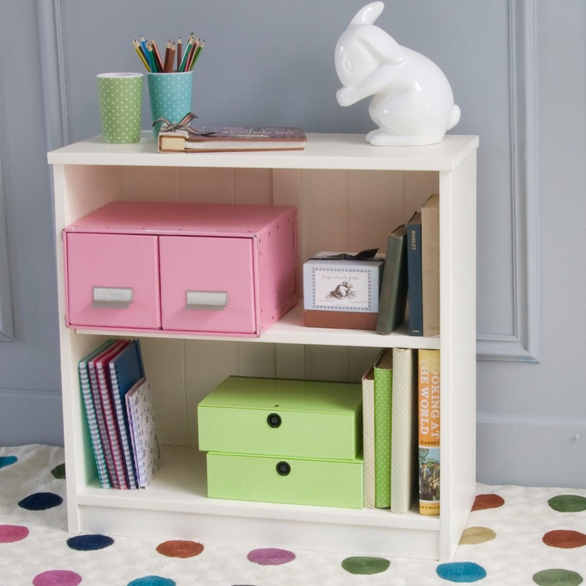 Fargo storage bookcase ivory white by little folks for for White bookcase for kids room