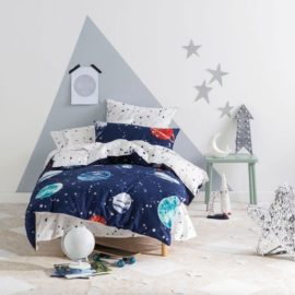 Planetary Space Moon Galaxy Planets Three Quarter Duvet Set for Kids Children Bedding Pure Cotton