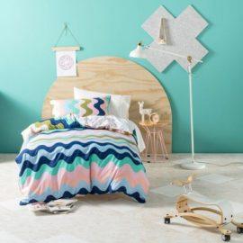 Wavelength Pink Double Duvet Set for Kids Children Bedding Cotton Teens
