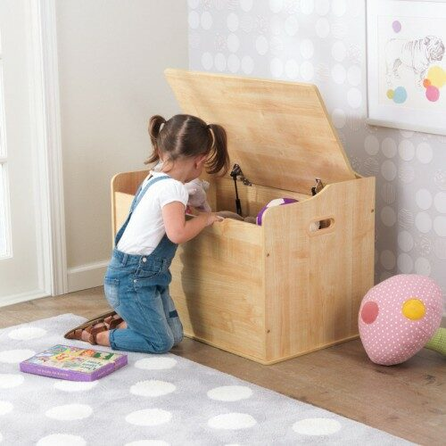 Classic Toy Box for Kids Children Storage Safety Hinge Playroom Bedroom Furniture Natural