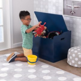 Classic Toy Box for Kids Children Storage Saftey Hinge Playroom Bedroom Furniture Navy