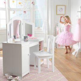 Deluxe Vanity and Chair Set for Kids Wood White for Children Kids Dressing Up Table