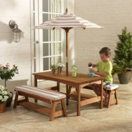 Outdoor Table & Bench Set with Cushions & Umbrella for Kids Children Garden Set Furniture Solid Wood