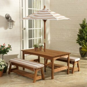 Outdoor Table & Bench Set with Cushions & Umbrella