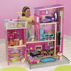 Uptown Dollshouse for Kids Children Girls Wooden Toy Play Barbie House Modern Playroom