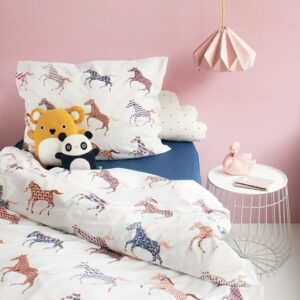 Horses Duvet Set - White (Single)