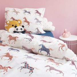 Horses Duvet Set for Kids Children Cotton Bedding Kidsroom Single Pillowcase Printed