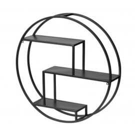 Pete Circular Wall Shelf for Kids Teens Metal Black Storage Shelving