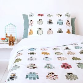 Robots Duvet Set Kids Children Modern Pure Cotton Bedding Kidsroom Single Pillowcase Printed