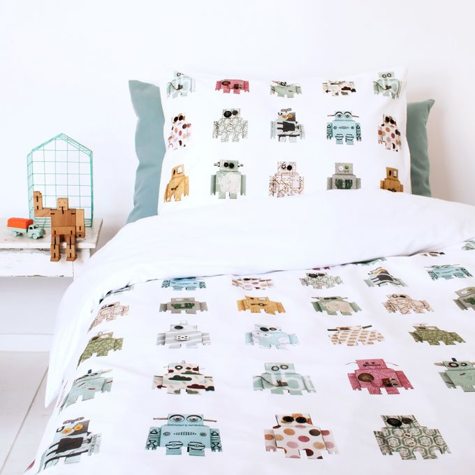 Robots Duvet Set - White (Single)